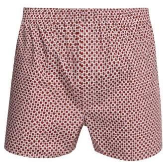 Sunspel Shibori Floral Print Cotton Boxer Shorts - Mens - Red
