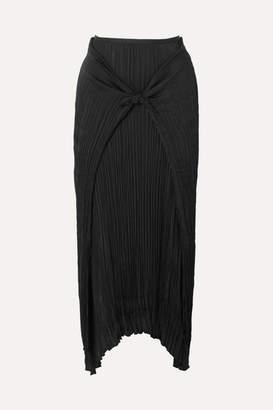Vince Tie-front Plissé-twill Skirt - Black