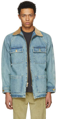 Fear Of God Indigo Selvedge Denim Long Trucker Jacket