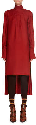 Chloé Turtleneck Long-Sleeve Pleated-Back Silk Crepe Dress