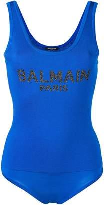 Balmain front logo body suit