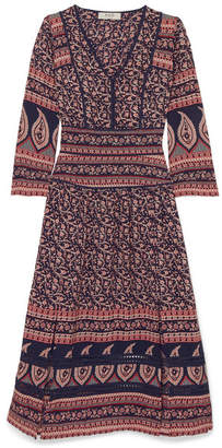 Sea Aurora Printed Cotton Midi Dress - Navy