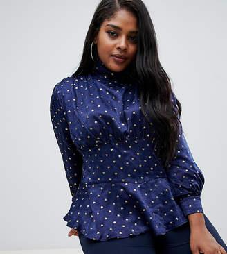 Fashion Union Plus plus high neck blouse in luxe satin