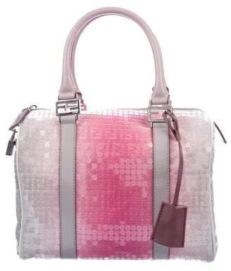 Fendi Zucchino Sequin-Embellished Bauletto Boston Bag