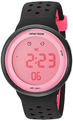 Armitron Sport Unisex 40/8423PBK Pink Accented Digital Chronograph Perforated Silicone Strap Watch