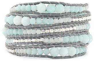 Chan Luu Amazonite Mix Graduated Wrap Bracelet/Iceberg Leather- BS-2624