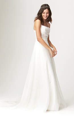 Savannah Miller Blanche Fitted Bodice Gown With Embroidery And Train