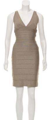 Herve Leger Metallic Bandage Dress Beige Metallic Bandage Dress