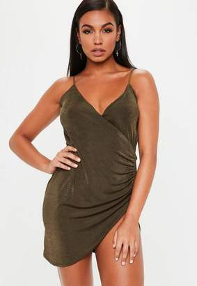 Missguided Gold Wrap Front Slinky Bodycon Dress, Gold
