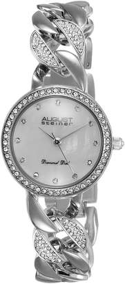 August Steiner Women's AS8190SS Round White Mother of Pearl Dial Three Hand Quartz Movement Bracelet Watch