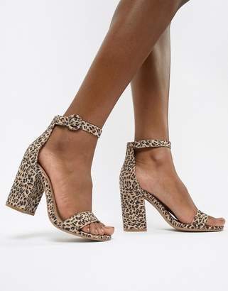 Qupid Leopard Block Heel Sandals