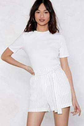 Nasty Gal Fall in Line Pinstripe Shorts
