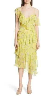 Alice + Olivia Olympia Asymmetrical Print Silk Dress