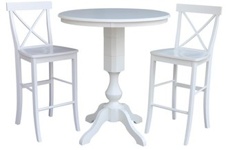 """INC International Concepts 36"""" Round Top Bar Height Table and 2 X-back Stools White - 3 Piece Set"""