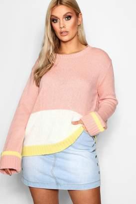 boohoo Plus Sandy Colour Block Knitted Jumper