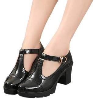 DADAWEN Women's Classic T-Strap Platform Mid-Heel Square Toe Oxfords Dress Shoes US Size 8