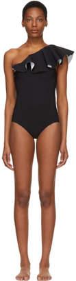 Lisa Marie Fernandez Black and White Arden Flounce Swimsuit