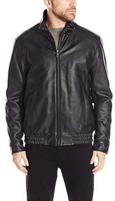 Cole Haan Men's Vegan Leather Convertible Collar Jacket with Banded Bottom