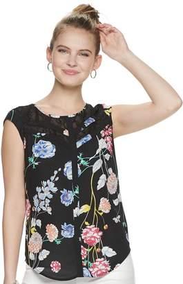 25f78545d1c Candies Juniors  Candie s Print Lace Inset Top