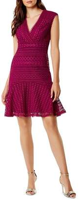 Karen Millen Flounce-Hem Lace Dress