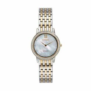 CitizenCitizen Eco-Drive Women's Silhouette Crystal Two Tone Stainless Steel Watch - EX1484-57D