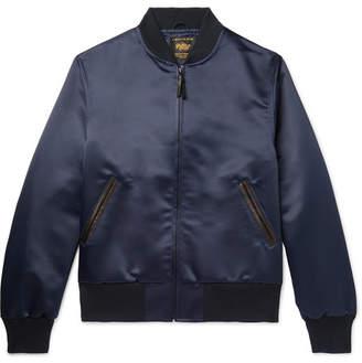 GoldenBear Golden Bear - Leather-Trimmed Satin Bomber Jacket - Men - Navy