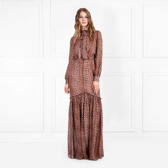 Rachel Zoe Verushka Leopard Printed Silk-Chiffon Maxi Dress