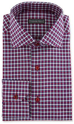 Stefano Ricci Men's Check Spread-Collar Dress Shirt