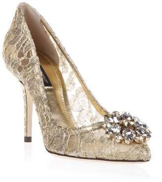 Dolce & Gabbana 90mm Bellucci Gold Lace & Swarovski Pumps