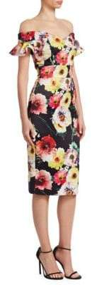 David Meister Floral Off-The-Shoulder Dress