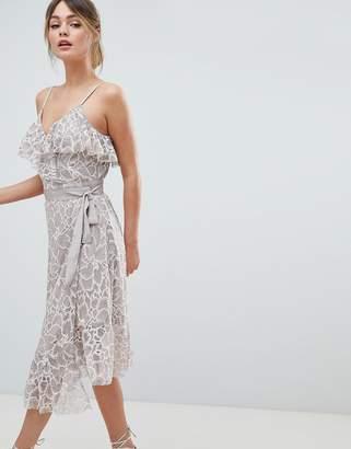 Liquorish Lace Midi Wrap Dress