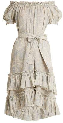 Zimmermann Helm Off The Shoulder Linen Dress - Womens - Cream Multi