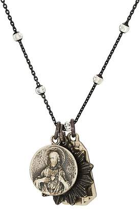 Miracle Icons Mens Vintage-Icon Lava Bead & Pearl Necklace NuehWKw