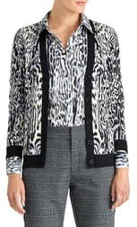 Rachel Roy Collection Leopard Print Cardigan