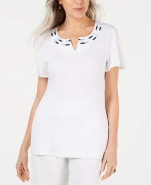 Karen Scott Embroidered Split-Neck Top, Created for Macy's