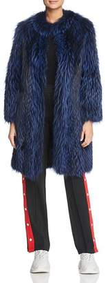 Maximilian Furs Feathered Fox Fur Coat with Leather Trim - 100% Exclusive