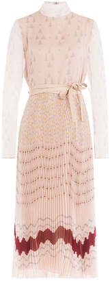 Valentino Pleated Silk Printed Dress