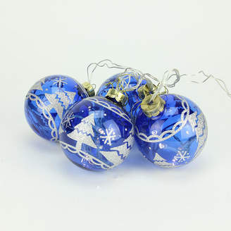 Asstd National Brand Set of 4 Battery Operated Blue Glass Ball LED Lighted Christmas Ornaments