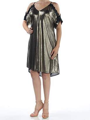 Rachel Roy Women's Cold Shoulder Metallic Shift with Lace