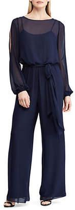 Chaps Wide-Leg Georgette Jumpsuit