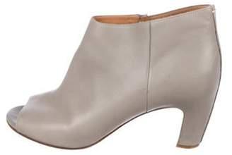 Maison Margiela Leather Peep-Toe Booties Grey Leather Peep-Toe Booties
