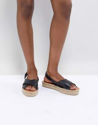 Alohas Leather Crossed Platform Espadrille