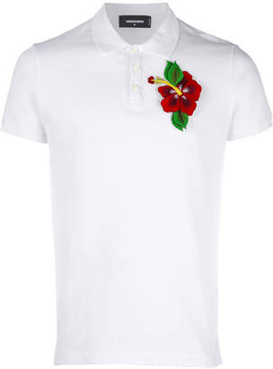 DSQUARED2 floral embellished polo top