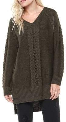Dex Cable-Knit High-Low Sweater