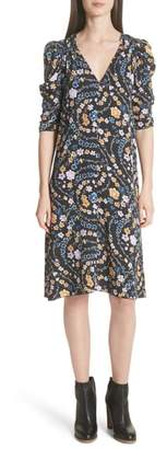 See by Chloe Floral Print Ruched Sleeve Dress