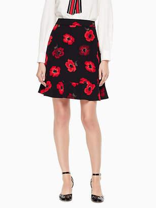 Kate Spade Poppy ruffle crepe skirt