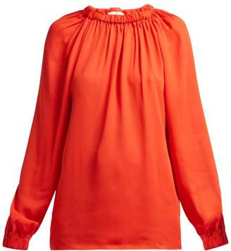 Tibi Elasticated Neck Georgette Blouse - Womens - Red