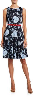 Modern American Designer Floral Pleated Fit-&-Flare Dress