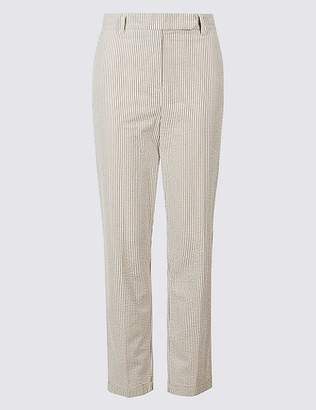 Marks and Spencer Pure Cotton Striped Seersucker Trousers