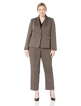 Le Suit Women's Size Plus 1 Button Shawl Collar Novelty Pant Suit